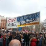 <b>Les cheminots et les étudiants grévistes dans la rue</b>
