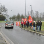 <b>VIDEO. La CGT manifeste sur l'échangeur du Gohélève à Pontivy ce mardi midi</b>