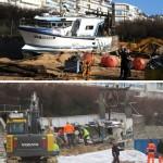 <b>Vidéos : aux Sables-d'Olonne, le démantèlement du bateau échoué sur la plage suit son cours.</b>