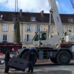 <b>Opération démontage de la fontaine place Belle-Croix à Falaise</b>