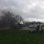<b>Gilets jaunes Acte XVI : les manifestants en action au rond-point de Pen-ar-C'hleuz à Brest</b>